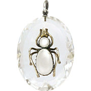 Victorian Rock Crystal and Silver Moonstone Bug Pendant