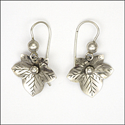 Victorian Silver Ivy Leaf Earrings - Pierced Ears