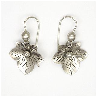 Victorian Silver Ivy Leaf Earrings - Pierced Ears