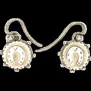 Victorian Lucky Horseshoe Silver Earrings - Pierced Ears