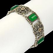 Austro-Hungarian Renaissance Revival Silver and Chrysoprase Agate Bracelet