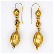 Victorian 'Melon' Drop Gold Plated Earrings - Silver Gilt Wires