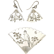 English Victorian Silver Parrot on Fan Pin and Earrings - Hallmarked 1879