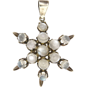 Victorian Moonstone on Silver Star Pendant