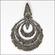 Early Victorian Cut Steel Concentric Circles Pendant