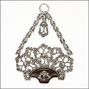 Georgian French Silver Cut Steel and Glass Basket Pendant