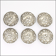 English Art Nouveau 6 Sterling Silver Buttons Boxed -Cupid and Psyche - L&S