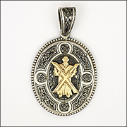 Victorian Scottish Enamelled Sterling Silver St Andrew Locket Back Pendant