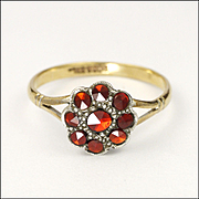 Victorian Vauxhall Glass Dress Ring on Silver and 9K Gold