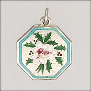 TLM English Silver Enamel Holly 'Flower of the Month' Charm