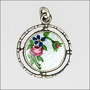 Art Deco Silver Enamel Floral Spray Charm