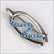 English 1916 Silver and Enamel Forget Me Not Wishbone Pin - Adie & Lovekin