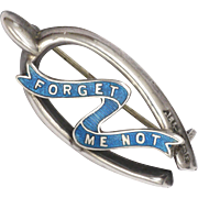 English 1916 Silver and Enamel Forget Me Not Wishbone Pin - Adie & Lovekin