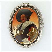 TLM Laughing Cavalier Oil Painted on Silver Brooch