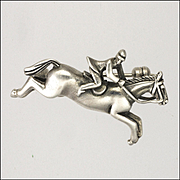 Sterling Silver Horse and Rider Pin