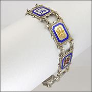 English Silver Enamel Bracelet - 1952  TURNER & SIMPSON