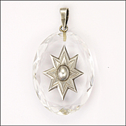 Victorian Rock Crystal and Sterling Siilver Star Pendant