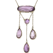 Edwardian Sterling Silver and Amethyst Negligée Necklace