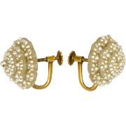 Victorian Seed Pearl Earrings with 14K Gold Screw Backs