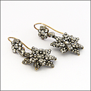 Victorian Cut Steel Dimensional Flower Drop Earrings - 9K Hooks