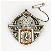 Scottish Victorian Silver Enamel Lion and Crown Brooch - RARE!