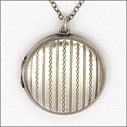 Engraved Silver Locket with Edwardian Sterling Chain