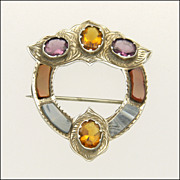 Scottish Victorian Silver Agates & Pastes PIn