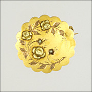 French Antique 18k Tri-Colour Gold Floral Lace Pin