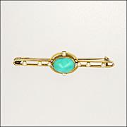 English Edwardian 9K Gold & Turquoise Bar Pin