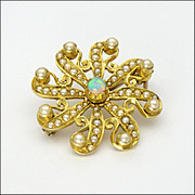 Antique Circa 1910 9K Gold Opal and Pearl PIn/Pendant