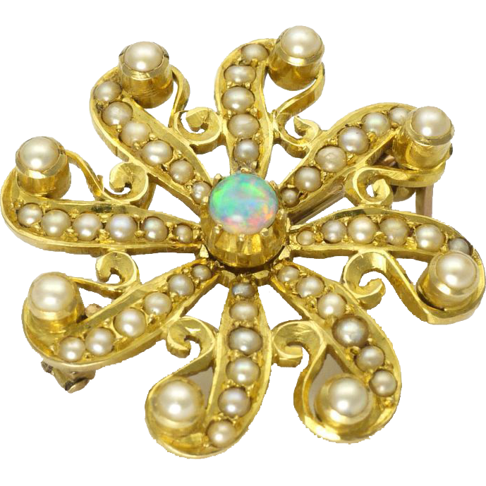 9k{k_Antique Circa 1910 9K Gold Opal and Pearl ...