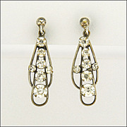 Art Deco Silver Pastes Earrings - Screw Backs
