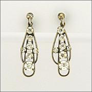 Art Deco Silver Pastes Earrings - Screw Backs