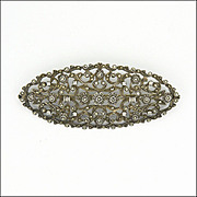 Art Deco Large Sterling Silver & Marcasite Pin