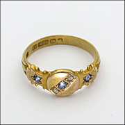 English 1903 15K gold Spinel & Diamonds Ring