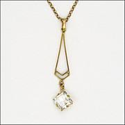English 9k Circa 1900 Rose Gold Chain with Deco Pendant