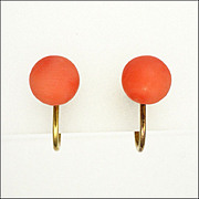 English Art Deco Coral & 9k Gold Screw Button Earrings