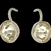 Early Victorian Silver Paste Button Earrings - Pierced Ears