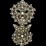 French 19C Silver Pastes Saint Esprit Pin