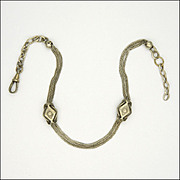 French Victorian Silver Watch Chain with Sliders