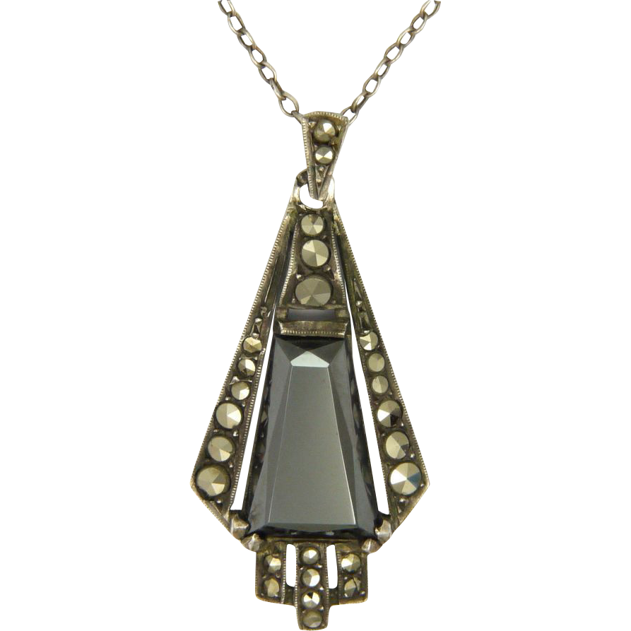 The Deco Haus Tagged Color Red: French Art Deco Silver Hematite & Marcasite Pendant