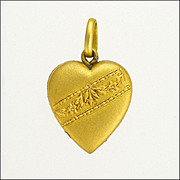 Old Gold Plated Repoussé Heart Charm - French Source