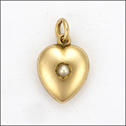 Late Victorian 9K Gold & Pearl Heart Locket Charm