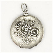 French Art Nouveau Silver Winter Holly and Summer Flowers Locket