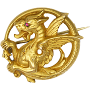 French Art Nouveau 'FIX' 18k Gold Filled Spinel Griffin Pin