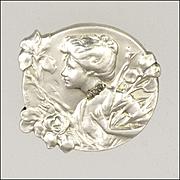 Frrench Art Nouveau Silver Diamond Chips Lady Pin - E DROPSY