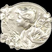 French Art Nouveau Silver Diamond Chips Lady Pin - E DROPSY
