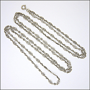 "French Antique Decorative Silver Guard Chain - 56"" - 22.3 grams"