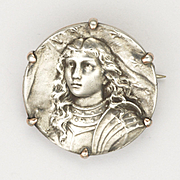 French Joan of Arc Circa 1900 Silver Pin