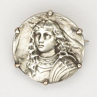 French Joan of Arc Circa 1900 Silver Pin